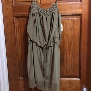 Greylin Dark Green Satin Dress